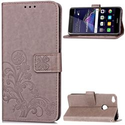 Embossing Imprint Four-Leaf Clover Leather Wallet Case for Huawei P8 Lite 2017 / Honor 8 Lite / Nova Lite / P9 Lite 2017 - Grey
