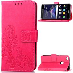 Embossing Imprint Four-Leaf Clover Leather Wallet Case for Huawei P8 Lite 2017 / Honor 8 Lite / Nova Lite / P9 Lite 2017 - Rose
