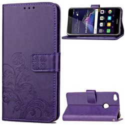 Embossing Imprint Four-Leaf Clover Leather Wallet Case for Huawei P8 Lite 2017 / Honor 8 Lite / Nova Lite / P9 Lite 2017 - Purple