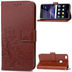 Embossing Imprint Four-Leaf Clover Leather Wallet Case for Huawei P8 Lite 2017 / Honor 8 Lite / Nova Lite / P9 Lite 2017 - Brown