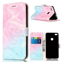 Pink Green Marble PU Leather Wallet Case for Huawei P8 Lite 2017 / Honor 8 Lite / Nova Lite / P9 Lite 2017