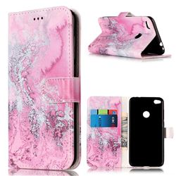 Pink Seawater PU Leather Wallet Case for Huawei P8 Lite 2017 / Honor 8 Lite / Nova Lite / P9 Lite 2017