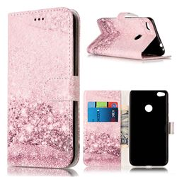 Glittering Rose Gold PU Leather Wallet Case for Huawei P8 Lite 2017 / Honor 8 Lite / Nova Lite / P9 Lite 2017