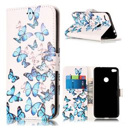 Blue Vivid Butterflies PU Leather Wallet Case for Huawei P8 Lite 2017 / Honor 8 Lite / Nova Lite / P9 Lite 2017