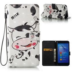 Milk Cow 3D Painted Leather Wallet Case for Huawei P8 Lite 2017 / P9 Honor 8 Nova Lite