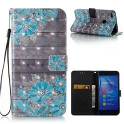Blue Flower 3D Painted Leather Wallet Case for Huawei P8 Lite 2017 / P9 Honor 8 Nova Lite