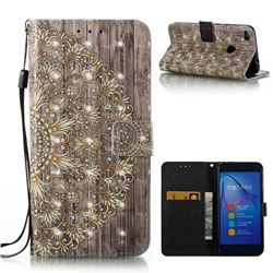 Golden Flower 3D Painted Leather Wallet Case for Huawei P8 Lite 2017 / P9 Honor 8 Nova Lite