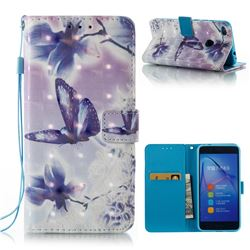Butterfly Flower 3D Painted Leather Wallet Case for Huawei P8 Lite 2017 / P9 Honor 8 Nova Lite