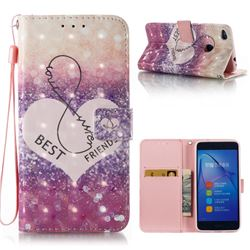 Heart Friend 3D Painted Leather Wallet Case for Huawei P8 Lite 2017 / P9 Honor 8 Nova Lite