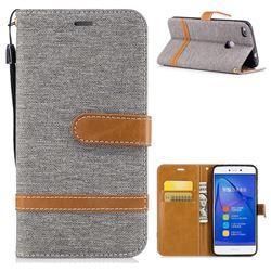 Jeans Cowboy Denim Leather Wallet Case for Huawei P8 Lite 2017 / P9 Honor 8 Nova Lite - Gray