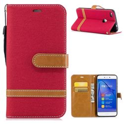 Jeans Cowboy Denim Leather Wallet Case for Huawei P8 Lite 2017 / P9 Honor 8 Nova Lite - Red