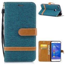 Jeans Cowboy Denim Leather Wallet Case for Huawei P8 Lite 2017 / P9 Honor 8 Nova Lite - Green