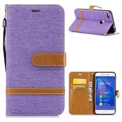 Jeans Cowboy Denim Leather Wallet Case for Huawei P8 Lite 2017 / P9 Honor 8 Nova Lite - Purple