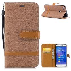 Jeans Cowboy Denim Leather Wallet Case for Huawei P8 Lite 2017 / P9 Honor 8 Nova Lite - Brown