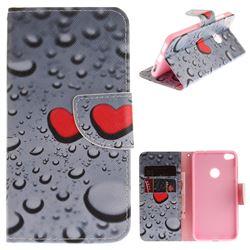 Heart Raindrop PU Leather Wallet Case for Huawei P8 Lite 2017 / P9 Honor 8 Nova Lite