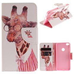 Pink Giraffe PU Leather Wallet Case for Huawei P8 Lite 2017 / P9 Honor 8 Nova Lite
