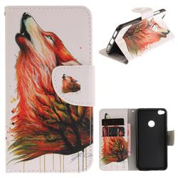 Color Wolf PU Leather Wallet Case for Huawei P8 Lite 2017 / P9 Honor 8 Nova Lite