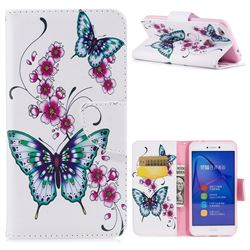 Peach Butterflies Leather Wallet Case for Huawei P8 Lite 2017 / P9 Honor 8 Nova Lite