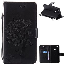 Embossing Butterfly Tree Leather Wallet Case for Huawei P8 Lite 2017 / P9 Honor 8 Nova Lite - Black