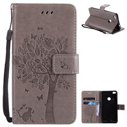 Embossing Butterfly Tree Leather Wallet Case for Huawei P8 Lite 2017 / P9 Honor 8 Nova Lite - Grey
