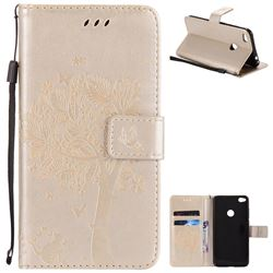 Embossing Butterfly Tree Leather Wallet Case for Huawei P8 Lite 2017 / P9 Honor 8 Nova Lite - Champagne