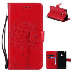 Embossing Butterfly Tree Leather Wallet Case for Huawei P8 Lite 2017 / P9 Honor 8 Nova Lite - Red