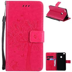 Embossing Butterfly Tree Leather Wallet Case for Huawei P8 Lite 2017 / P9 Honor 8 Nova Lite - Rose