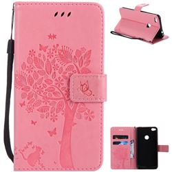 Embossing Butterfly Tree Leather Wallet Case for Huawei P8 Lite 2017 / P9 Honor 8 Nova Lite - Pink