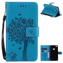 Embossing Butterfly Tree Leather Wallet Case for Huawei P8 Lite 2017 / P9 Honor 8 Nova Lite - Blue