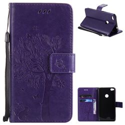 Embossing Butterfly Tree Leather Wallet Case for Huawei P8 Lite 2017 / P9 Honor 8 Nova Lite - Purple