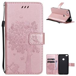 Embossing Butterfly Tree Leather Wallet Case for Huawei P8 Lite 2017 / P9 Honor 8 Nova Lite - Rose Pink