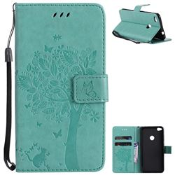 Embossing Butterfly Tree Leather Wallet Case for Huawei P8 Lite 2017 / P9 Honor 8 Nova Lite - Cyan