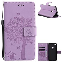 Embossing Butterfly Tree Leather Wallet Case for Huawei P8 Lite 2017 / P9 Honor 8 Nova Lite - Violet