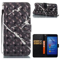 Black Marble 3D Painted Leather Wallet Case for Huawei P8 Lite 2017 / P9 Honor 8 Nova Lite