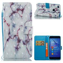 White Purple Marble 3D Painted Leather Wallet Case for Huawei P8 Lite 2017 / P9 Honor 8 Nova Lite