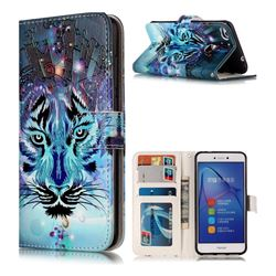 Ice Wolf 3D Relief Oil PU Leather Wallet Case for Huawei P8 Lite 2017 / P9 Honor 8 Nova Lite
