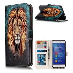 Ice Lion 3D Relief Oil PU Leather Wallet Case for Huawei P8 Lite 2017 / P9 Honor 8 Nova Lite