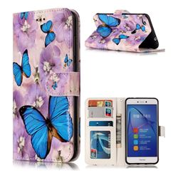Purple Flowers Butterfly 3D Relief Oil PU Leather Wallet Case for Huawei P8 Lite 2017 / P9 Honor 8 Nova Lite