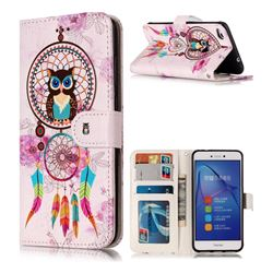Wind Chimes Owl 3D Relief Oil PU Leather Wallet Case for Huawei P8 Lite 2017 / P9 Honor 8 Nova Lite