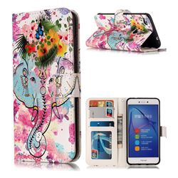 Flower Elephant 3D Relief Oil PU Leather Wallet Case for Huawei P8 Lite 2017 / P9 Honor 8 Nova Lite