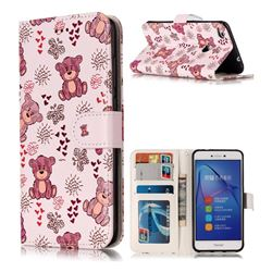 Cute Bear 3D Relief Oil PU Leather Wallet Case for Huawei P8 Lite 2017 / P9 Honor 8 Nova Lite