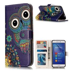 Folk Owl 3D Relief Oil PU Leather Wallet Case for Huawei P8 Lite 2017 / P9 Honor 8 Nova Lite