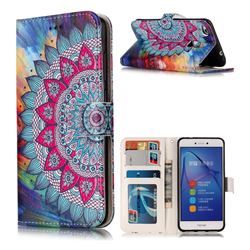 Mandala Flower 3D Relief Oil PU Leather Wallet Case for Huawei P8 Lite 2017 / P9 Honor 8 Nova Lite
