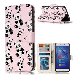 Cute Panda 3D Relief Oil PU Leather Wallet Case for Huawei P8 Lite 2017 / P9 Honor 8 Nova Lite