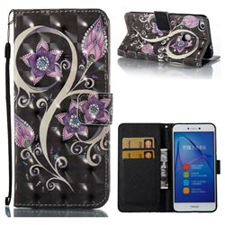 Peacock Flower 3D Painted Leather Wallet Case for Huawei P8 Lite 2017 / P9 Honor 8 Nova Lite