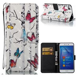 Colored Butterflies 3D Painted Leather Wallet Case for Huawei P8 Lite 2017 / P9 Honor 8 Nova Lite