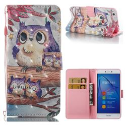 Purple Owl 3D Painted Leather Wallet Case for Huawei P8 Lite 2017 / P9 Honor 8 Nova Lite
