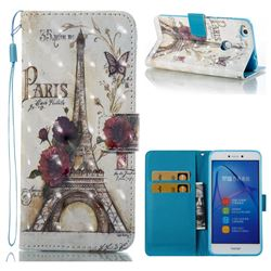 Flower Eiffel Tower 3D Painted Leather Wallet Case for Huawei P8 Lite 2017 / P9 Honor 8 Nova Lite