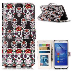 Flower Skull 3D Relief Oil PU Leather Wallet Case for Huawei P8 Lite 2017 / P9 Honor 8 Nova Lite