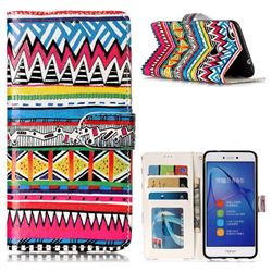 Tribal Pattern 3D Relief Oil PU Leather Wallet Case for Huawei P8 Lite 2017 / P9 Honor 8 Nova Lite
